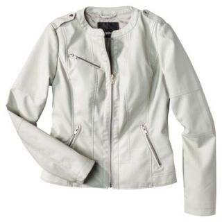 Mossimo Womens Faux Leather Jacket  Ivory M