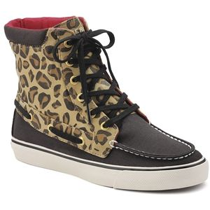Sperry Top Sider Womens Pinecrest Black Sand Leopard Boots   9777365