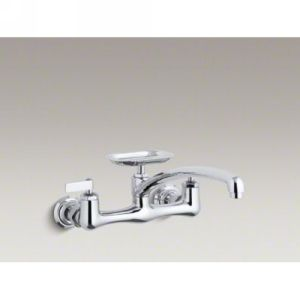 Kohler K 7856 4 CP Clearwater Two Handle Wall Mounted Kitchen Faucet with Soap D