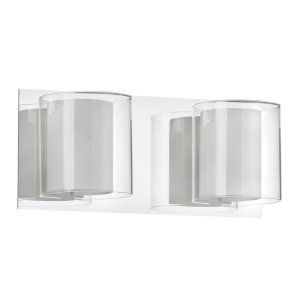 Dainolite DAI V311 2W PC Universal 2 Light Vanity Fixture Double Glass