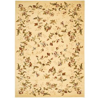 Lyndhurst Collection Floral Beige Rug (8 X 11) (IvoryPattern FloralMeasures 0.375 inch thickTip We recommend the use of a non skid pad to keep the rug in place on smooth surfaces.All rug sizes are approximate. Due to the difference of monitor colors, so