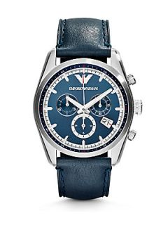 Emporio Armani Leather Chronograph Watch   Blue