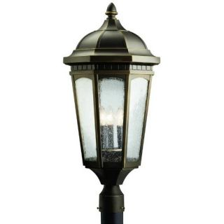Kichler 9533RZ Outdoor Light, Classic (Formal Traditional) Post Mount 3 Light Fixture Rubbed Bronze