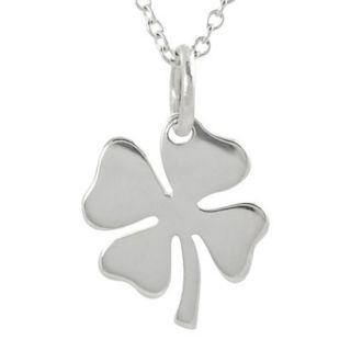 Journee Collection Sterling Silver Four Leaf Clover Necklace   Silver