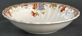 Spode Sydney Coupe Cereal Bowl, Fine China Dinnerware   Brown, Red & Blue Flower