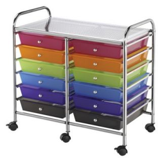 Storage Cart Double Wide Storage Cart with 12 Drawers   Multi Color