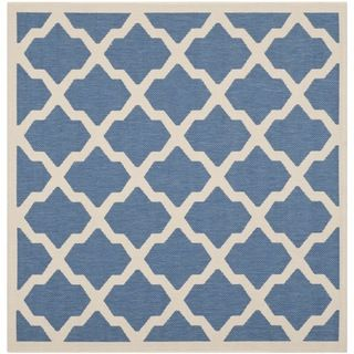 Safavieh Indoor/ Outdoor Courtyard Collection Blue/ Beige Rug (53 Square)