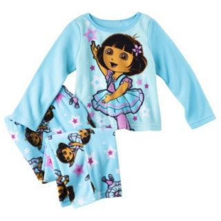 Dora the Explorer Infant Toddler Girls 2 Piece Pajama Set   Blue 18 M