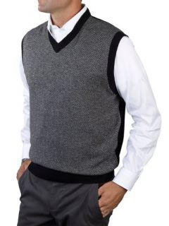 Paul Fredrick Mens Wool & Cashmere Herringbone V neck Sweater Vest