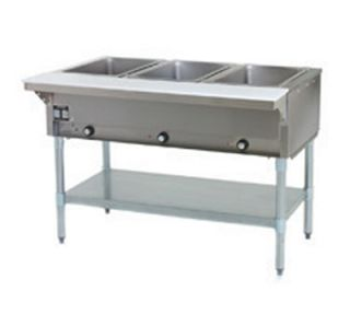 Eagle Group 48 Hot Food Table   3 Wells, Infinite, Cutting Board, Undershelf, 120v