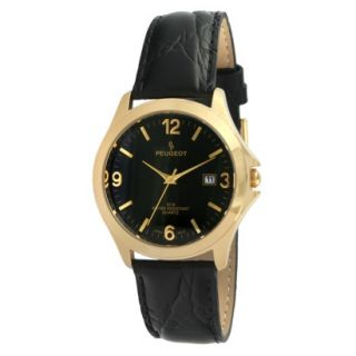 Peugeot Mens Round Black Leather Strap Watch   Gold