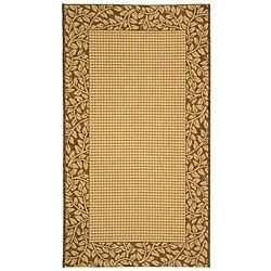 Indoor/ Outdoor Natural/ Brown Rug (4 X 57) (IvoryPattern BorderMeasures 0.25 inch thickTip We recommend the use of a non skid pad to keep the rug in place on smooth surfaces.All rug sizes are approximate. Due to the difference of monitor colors, some r