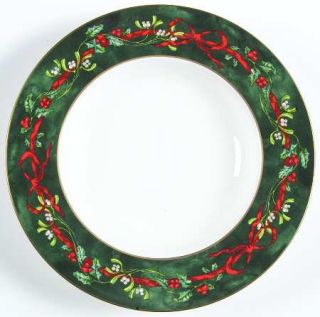Royal Worcester Holly Ribbons Green Large Rim Soup Bowl, Fine China Dinnerware