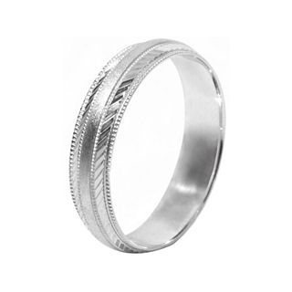 Mens 10K White Gold 5mm Engraved Wedding Band, White/Gold