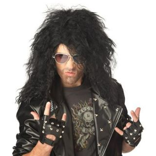 Womens Heavy Metal Rocker Wig   Black