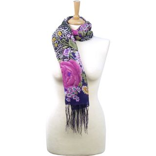 La77 Womens Floral/ Animal Print Fringed Square Scarf