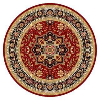 Lyndhurst Collection Traditional Red/black Rug (8 Round)