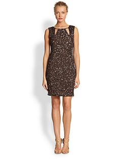 Nicole Miller Beaded Zipper Dress   Bronze
