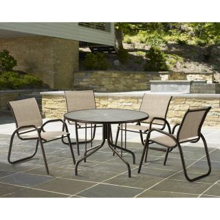 Telescope Casual Gardenella Sling Patio Dining Set with Glass Top Table   Seats