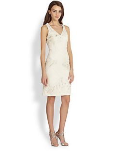 Sue Wong Criss Cross Embroidery Dress   White