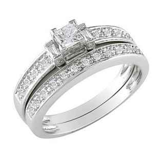 10K White Gold Diamond Bridal Set Silver 5.0
