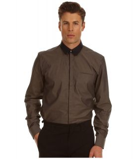 Costume National Slim Fit Shirt with 60s Collar Mens Long Sleeve Button Up (Brown)