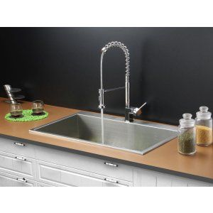 Ruvati RVC1391 Combo Stainless Steel Kitchen Sink and Chrome Faucet Set