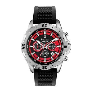 Bulova Marine Star Mens Red & Black Rubber Strap Chronograph Watch