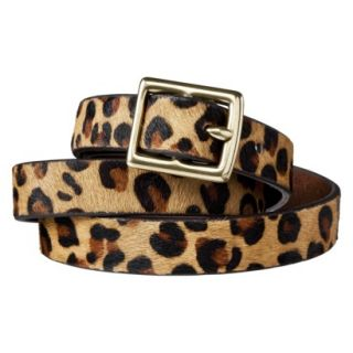 Merona Leopard Print Calf Hair Belt Brown/Tan   S