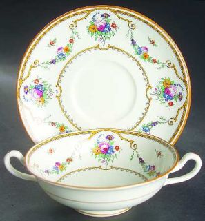 Royal Cauldon Sledmere (White Background) Footed Cream Soup Bowl & Saucer Set, F