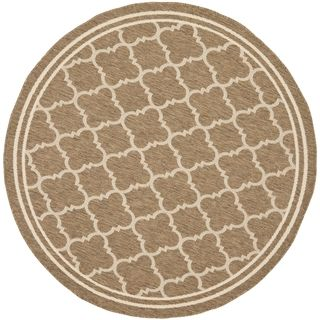Safavieh Indoor/ Outdoor Courtyard Brown/ Bone Rug (710 Round)