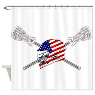 American Flag Lacrosse Helmet Shower Curtain  Use code FREECART at Checkout