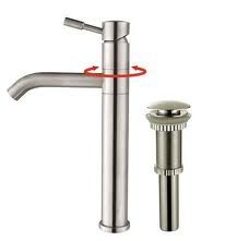 Kraus KVF2180PU10SN Bathroom Faucet, Aldo Single Lever Vessel Faucet Stainless Steel w/ Pop Up Drain Satin Nickel