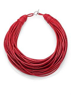 Brunello Cucinelli Patent Leather Cord Multi Strand Necklace   Red