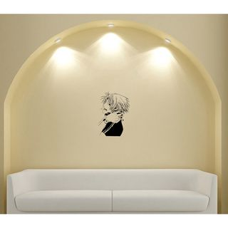 Japanese Manga Guy Watches Bullet Vinyl Wall Art Decal (Glossy blackEasy to applyInstruction includedDimensions 25 inches wide x 35 inches long )