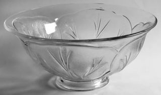 Indiana Glass Pebble Leaf Clear Bowl Punch   Clear, Heavy, Leaf  Design