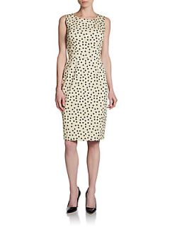 Stretch Cotton Polka Dot Dress   Khaki Dots