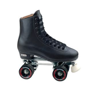 Chicago Mens Deluxe Leather Lined Rink Skates (BlackToe stop size 5/8 inch adjustableMaterials PVC, leather, aluminum, urethaneClosure Laces and speed hooksPlate Aluminum with adjustable truckBearings ABEC rated percision bearings )