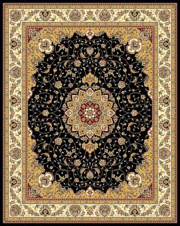 Lyndhurst Collection Traditional Black/ Ivory Rug (8 X 11) (BlackPattern OrientalMeasures 0.375 inch thickTip We recommend the use of a non skid pad to keep the rug in place on smooth surfaces.All rug sizes are approximate. Due to the difference of moni