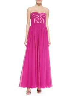Womens Strapless Sheer Skirt Gown, Deep Berry   Aidan by Aidan Mattox