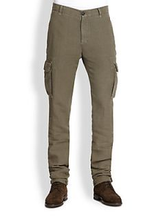 Brunello Cucinelli Slim Fit Linen Cargo Pants   Khaki