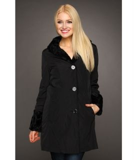 Hilary Radley Studio Reversible to Faux Fur Storm Single Breasted Coat Womens Coat (Black)