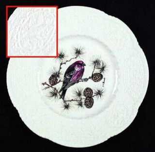 Royal Cauldon Aviary Luncheon Plate, Fine China Dinnerware   White,Embossed,Bird