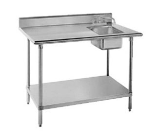 Advance Tabco 60 Work Table   Right Sink, 5 Backsplash, 30 W, 16 ga 304 Stainless