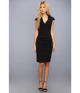 Nicole Miller Hadley Ponte Cap Sleeve V Neck Dress Womens Dress (Black)