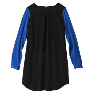 Mossimo Womens Longsleeve Colorblock Sheath Dress  Black/Blue S