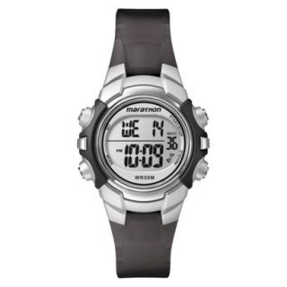 Marathon By Timex Black Strap Digital Sports Watch with Black & Silver Top Ring