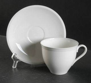 Christopher Stuart Heritage White Flat Cup & Saucer Set, Fine China Dinnerware