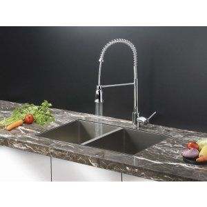 Ruvati RVC2336 Combo Stainless Steel Kitchen Sink and Chrome Faucet Set