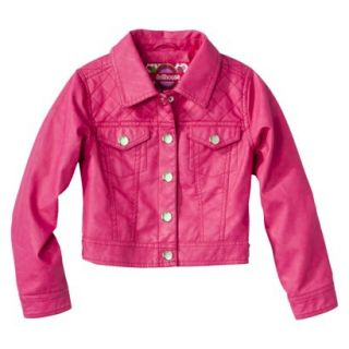Dollhouse Girls Faux Leather Quilted Jacket   Pink 7 8